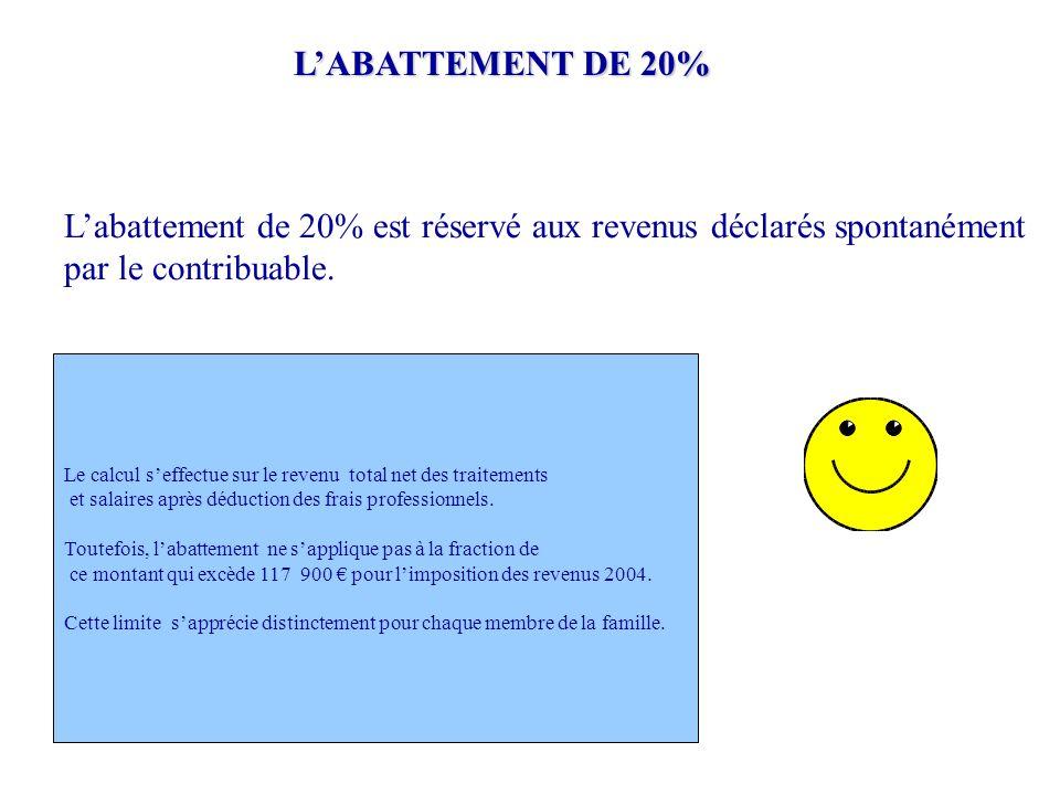 L'abattement de 20% est réservé aux revenus déclarés spontanément