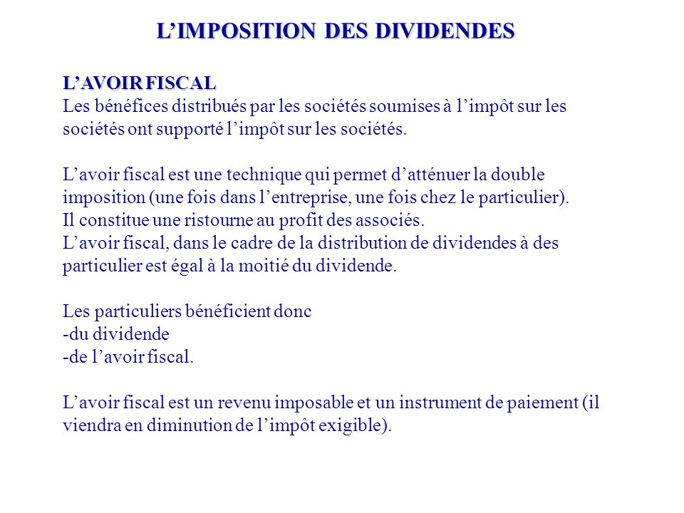 L'IMPOSITION DES DIVIDENDES