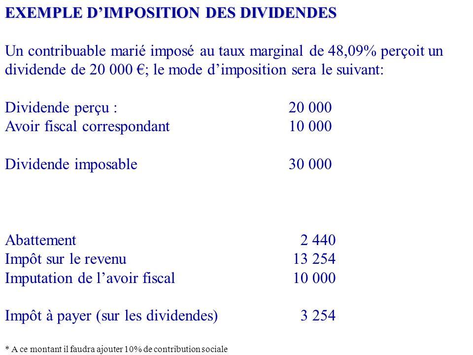 EXEMPLE D'IMPOSITION DES DIVIDENDES