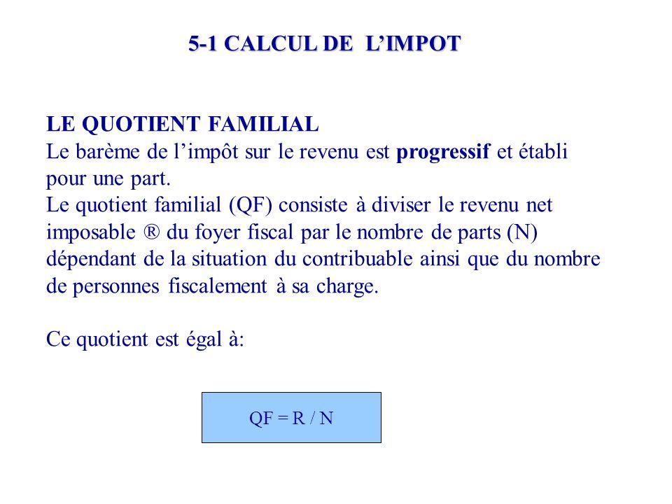 5-1 CALCUL DE L'IMPOT LE QUOTIENT FAMILIAL