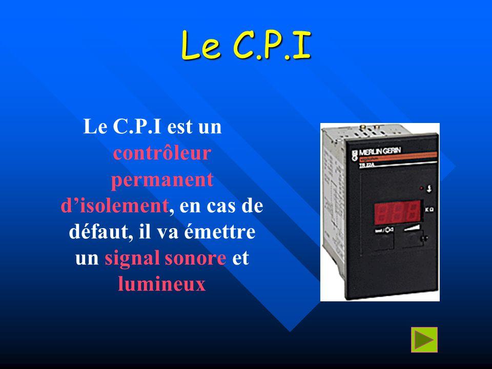 Le C.P.I Le C.P.I est un contrôleur permanent d'isolement, en cas de défaut, il va émettre un signal sonore et lumineux.