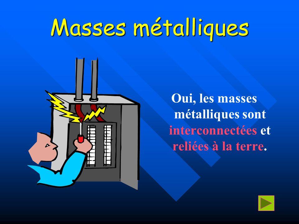 Masses métalliques Oui, les masses métalliques sont interconnectées et reliées à la terre.