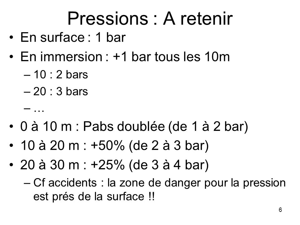 Pressions : A retenir En surface : 1 bar