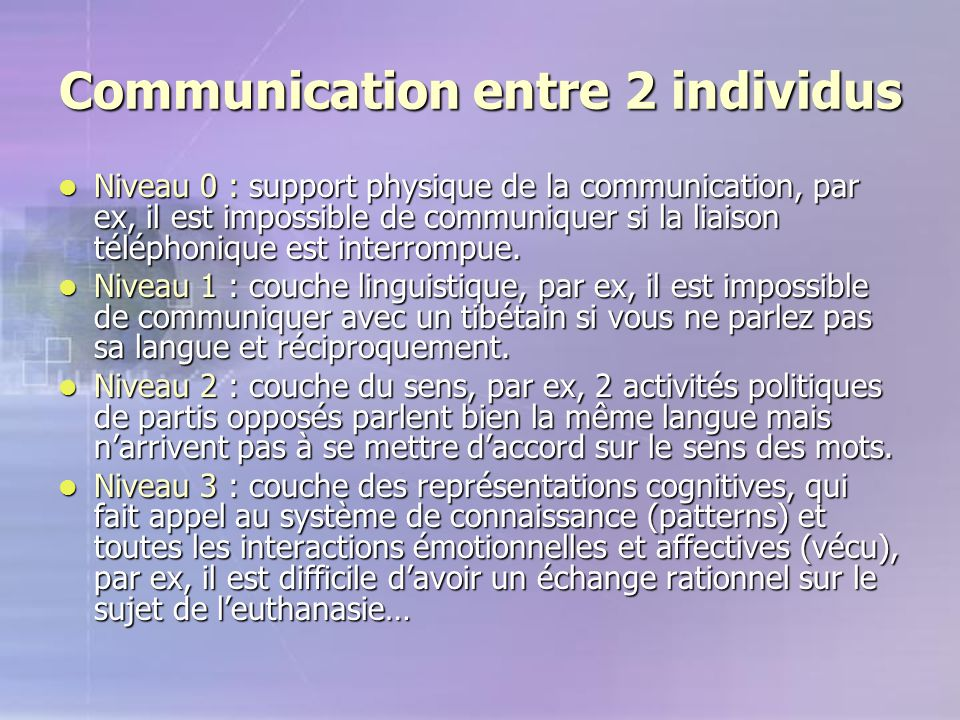 Communication entre 2 individus