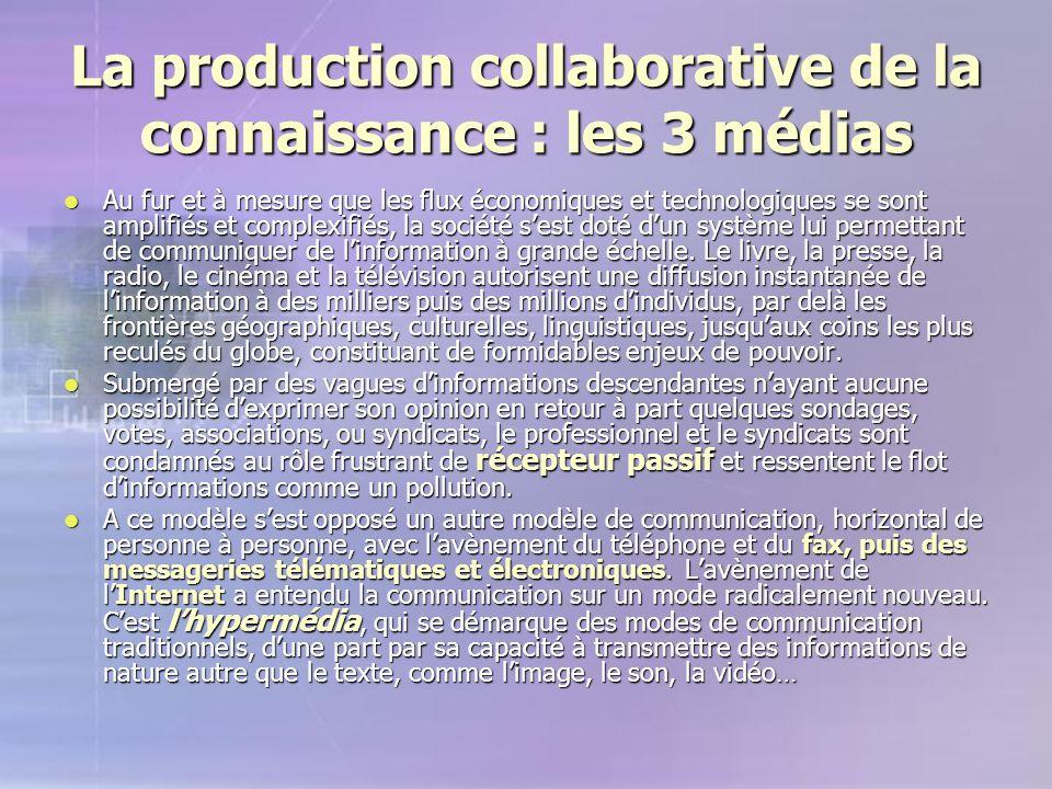 La production collaborative de la connaissance : les 3 médias