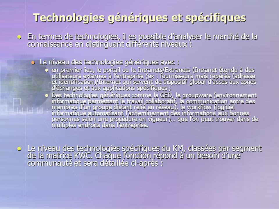 Technologies génériques et spécifiques