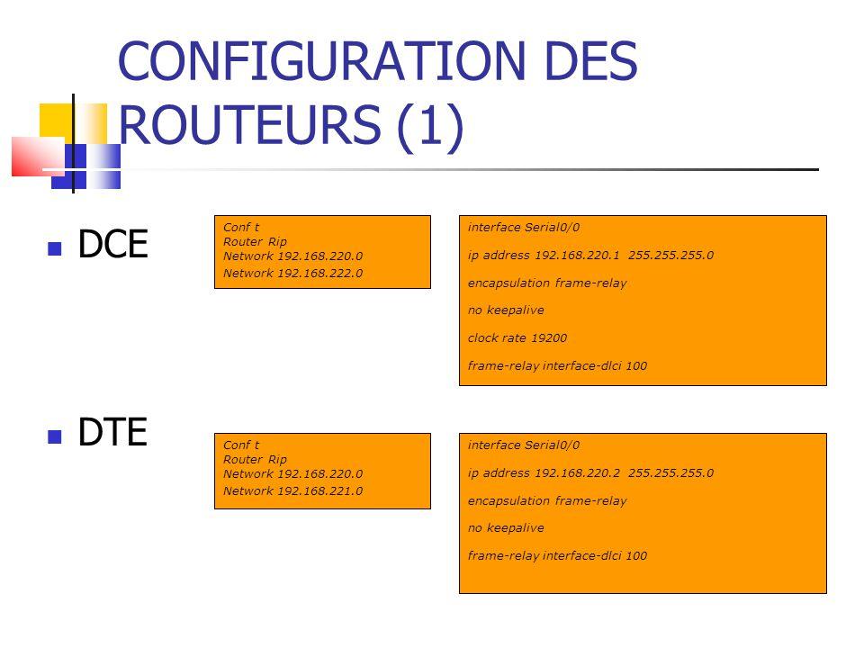 CONFIGURATION DES ROUTEURS (1)