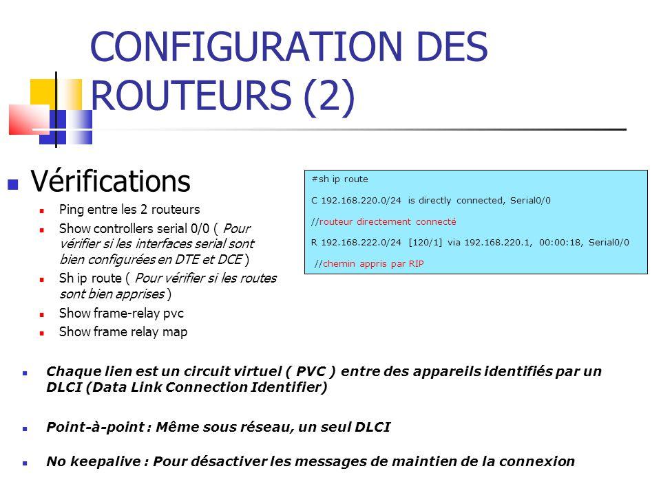 CONFIGURATION DES ROUTEURS (2)
