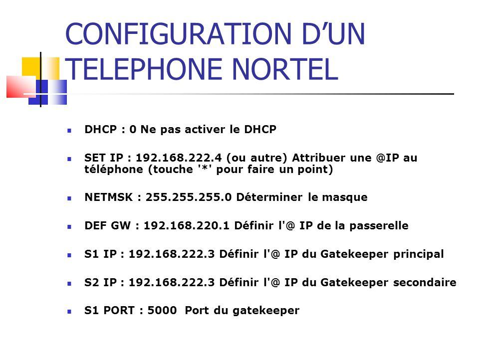 CONFIGURATION D'UN TELEPHONE NORTEL DHCP : 0 Ne pas activer le DHCP.