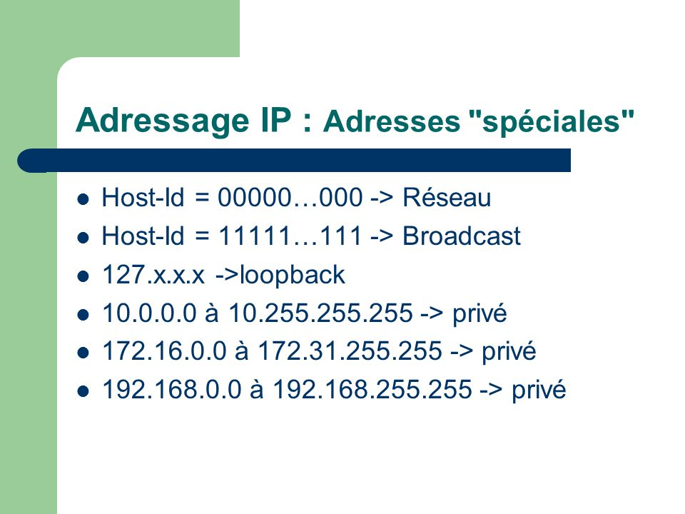 Adressage IP : Adresses spéciales