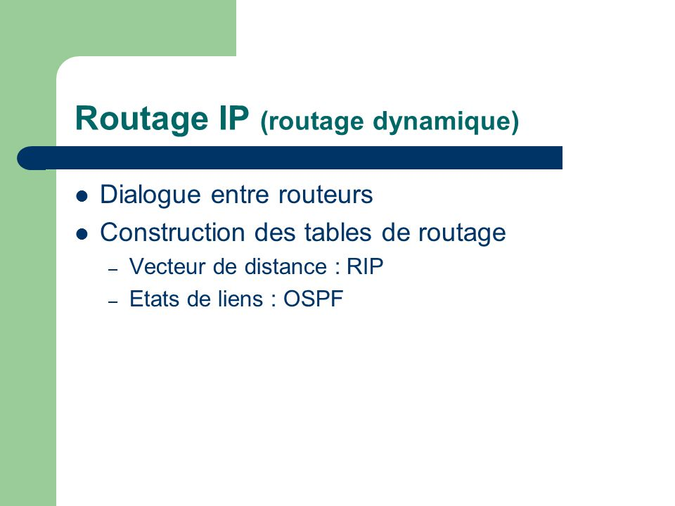 Routage IP (routage dynamique)