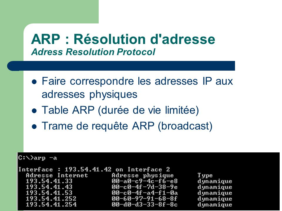 ARP : Résolution d adresse Adress Resolution Protocol