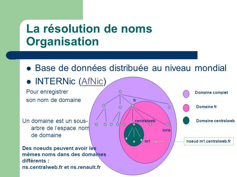 La résolution de noms Organisation