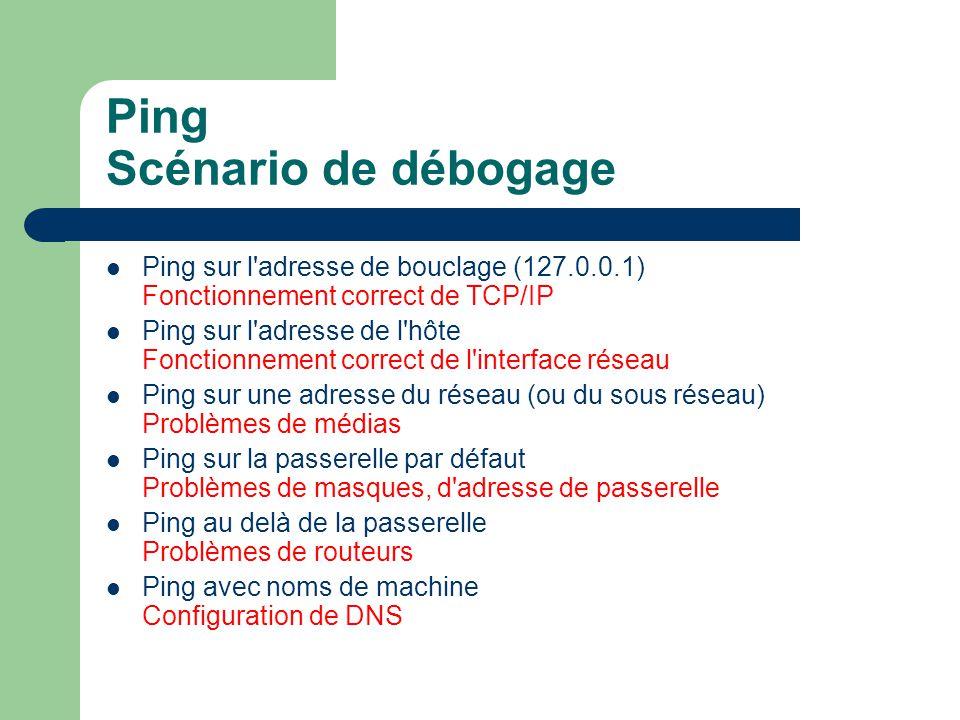 Ping Scénario de débogage