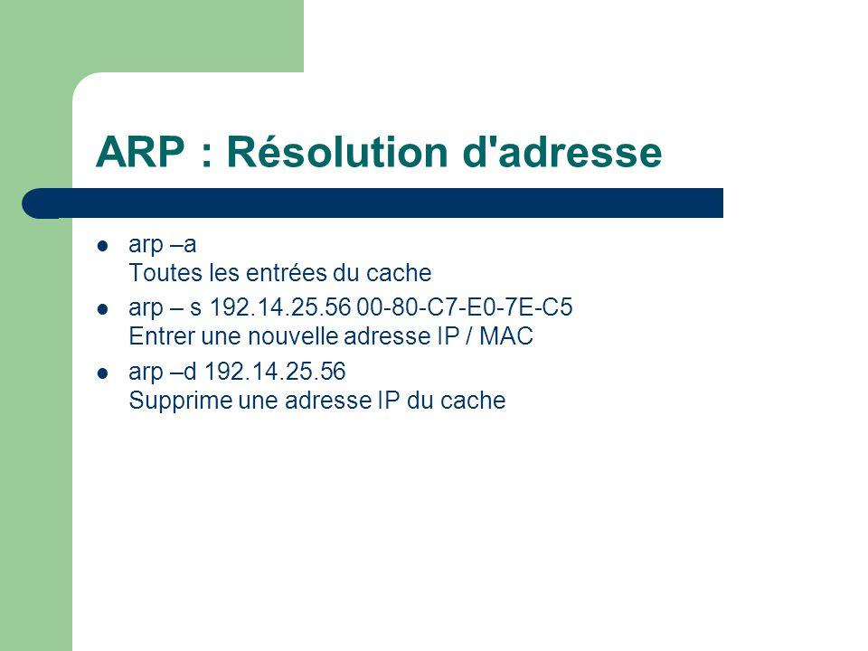 ARP : Résolution d adresse