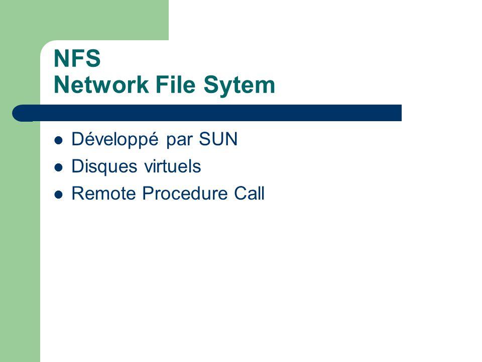 NFS Network File Sytem Développé par SUN Disques virtuels
