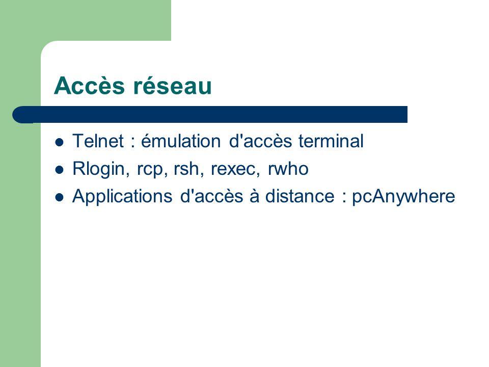 Accès réseau Telnet : émulation d accès terminal