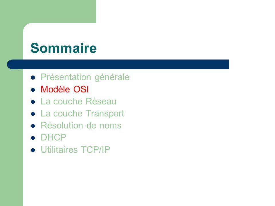 Sommaire Présentation générale Modèle OSI La couche Réseau