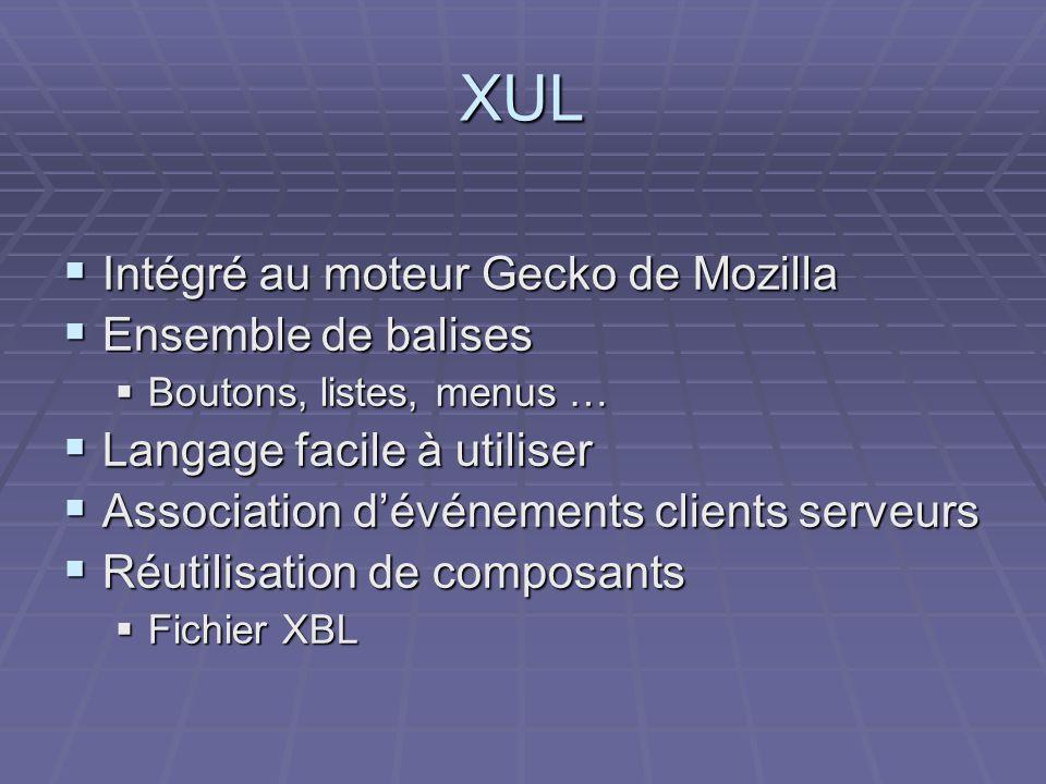 XUL Intégré au moteur Gecko de Mozilla Ensemble de balises