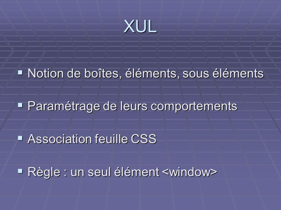 XUL Notion de boîtes, éléments, sous éléments