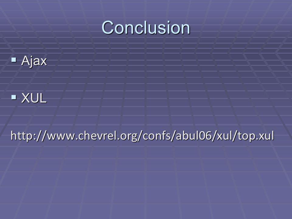 Conclusion Ajax XUL http://www.chevrel.org/confs/abul06/xul/top.xul