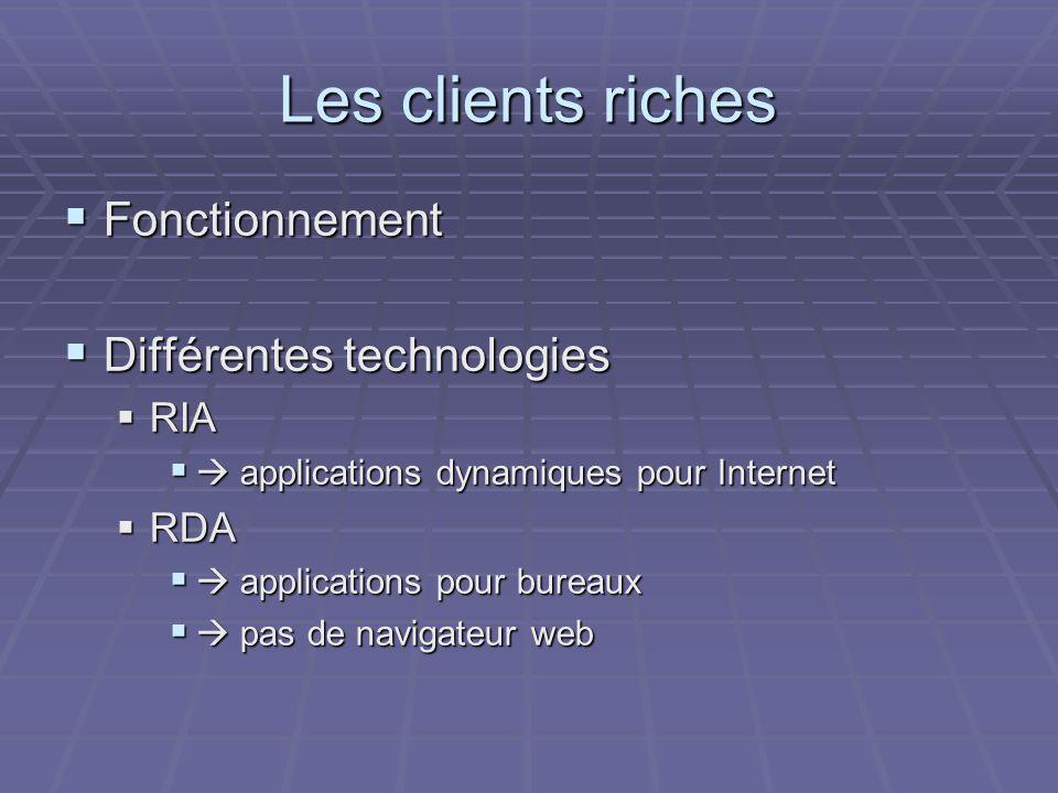 Les clients riches Fonctionnement Différentes technologies RIA RDA
