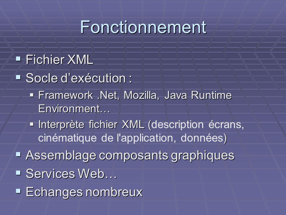 Fonctionnement Fichier XML Socle d'exécution :