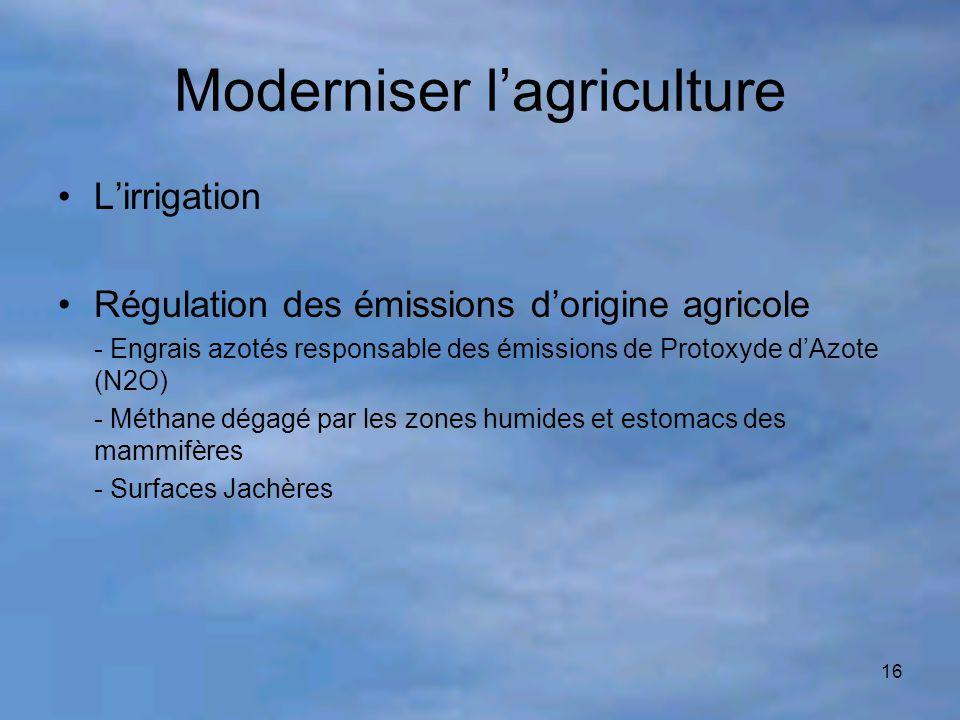 Moderniser l'agriculture