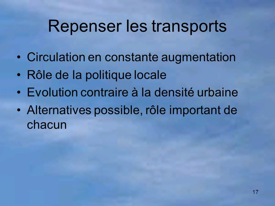 Repenser les transports