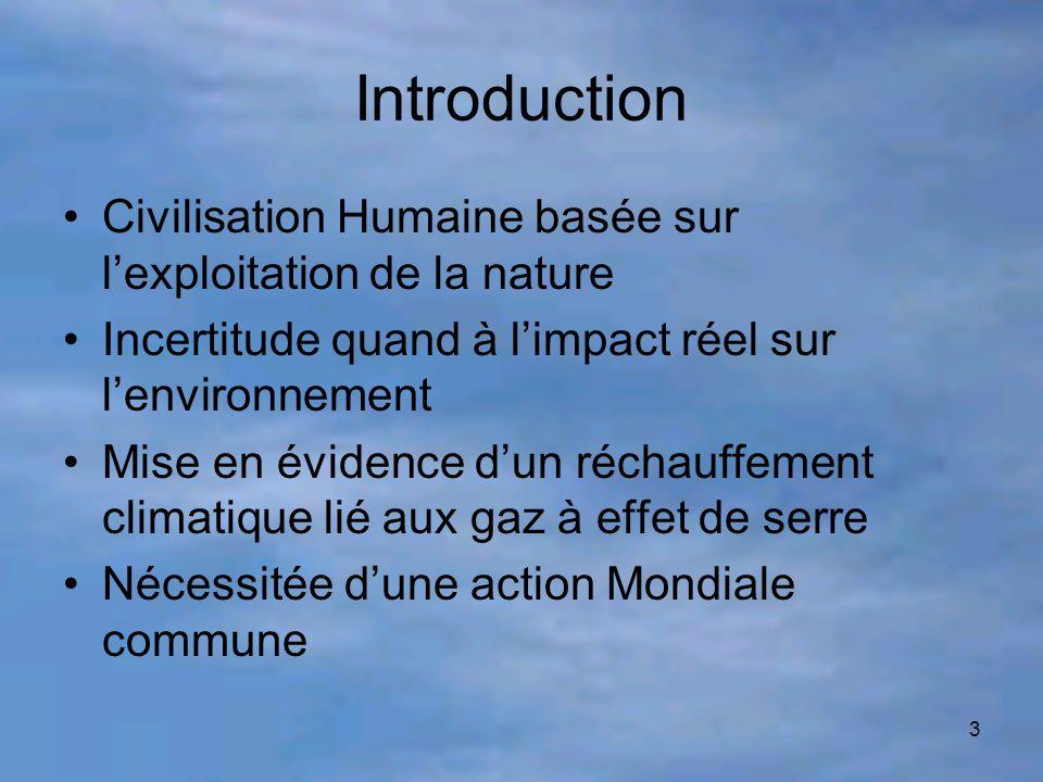 Introduction Civilisation Humaine basée sur l'exploitation de la nature. Incertitude quand à l'impact réel sur l'environnement.