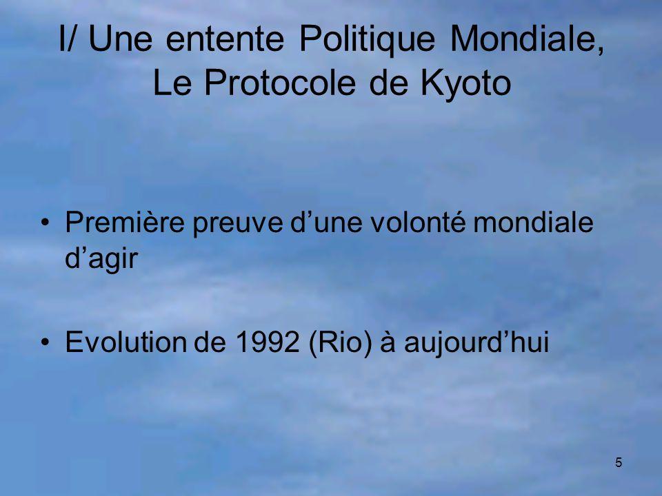 I/ Une entente Politique Mondiale, Le Protocole de Kyoto