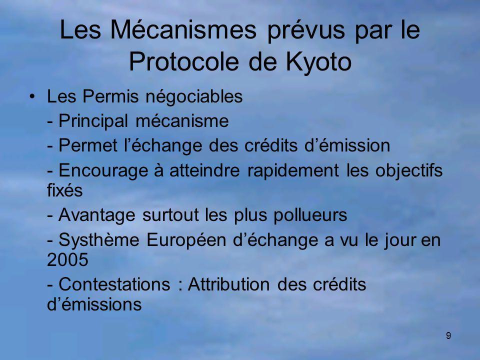 Les Mécanismes prévus par le Protocole de Kyoto