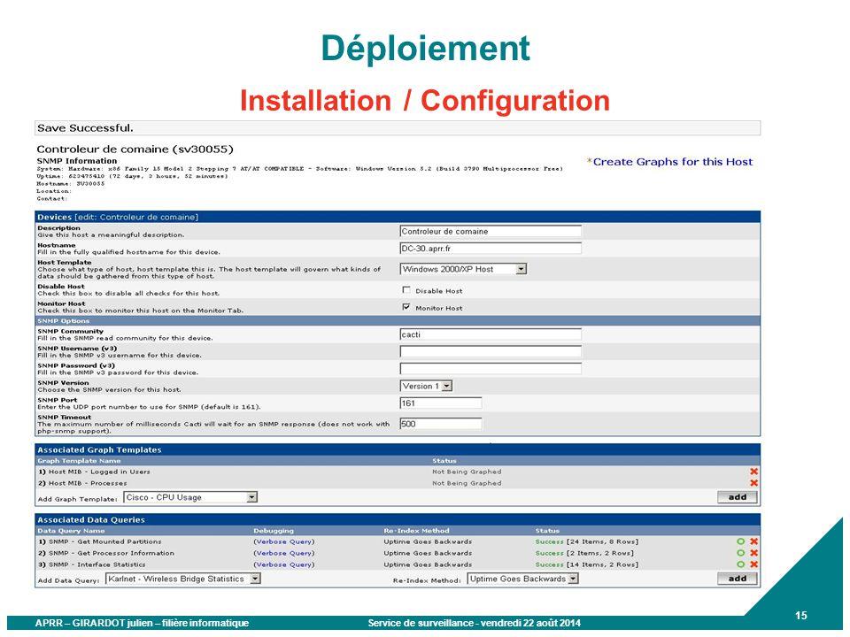 Déploiement Installation / Configuration