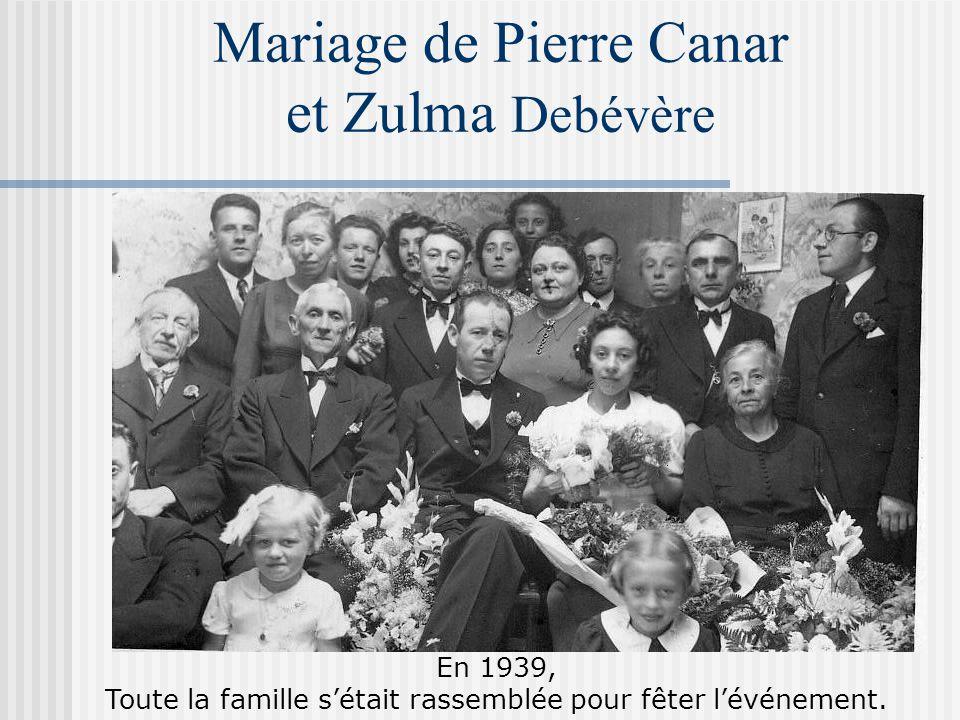 Mariage de Pierre Canar et Zulma Debévère