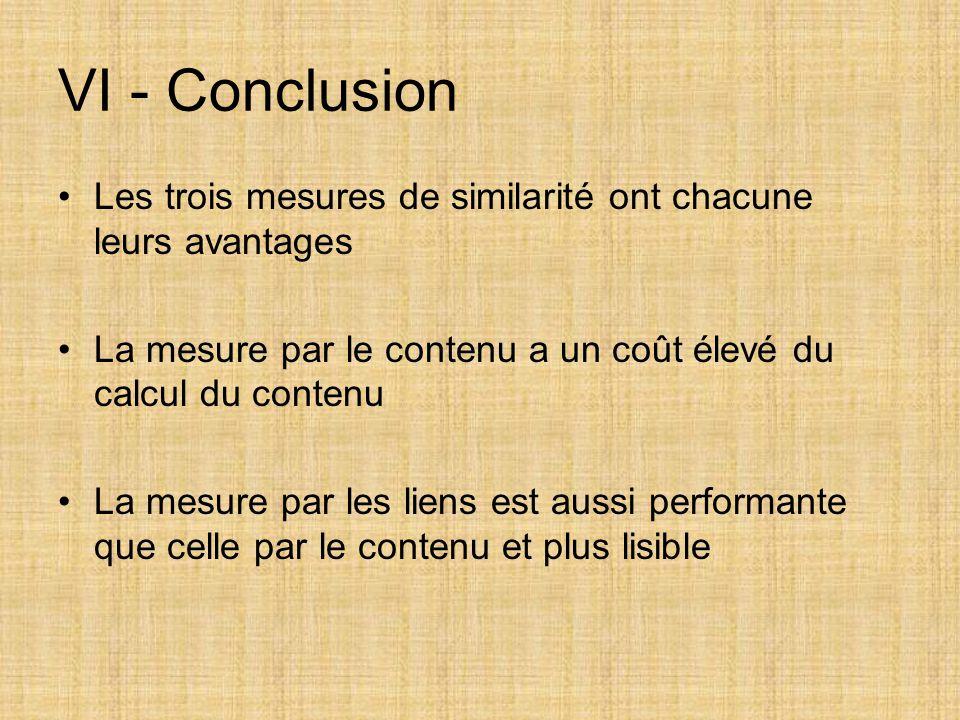 VI - Conclusion Les trois mesures de similarité ont chacune leurs avantages. La mesure par le contenu a un coût élevé du calcul du contenu.