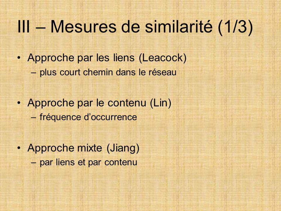 III – Mesures de similarité (1/3)