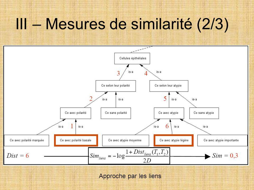 III – Mesures de similarité (2/3)