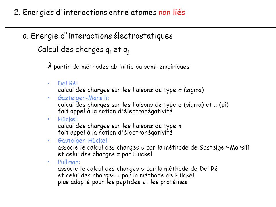 2. Energies d interactions entre atomes non liés