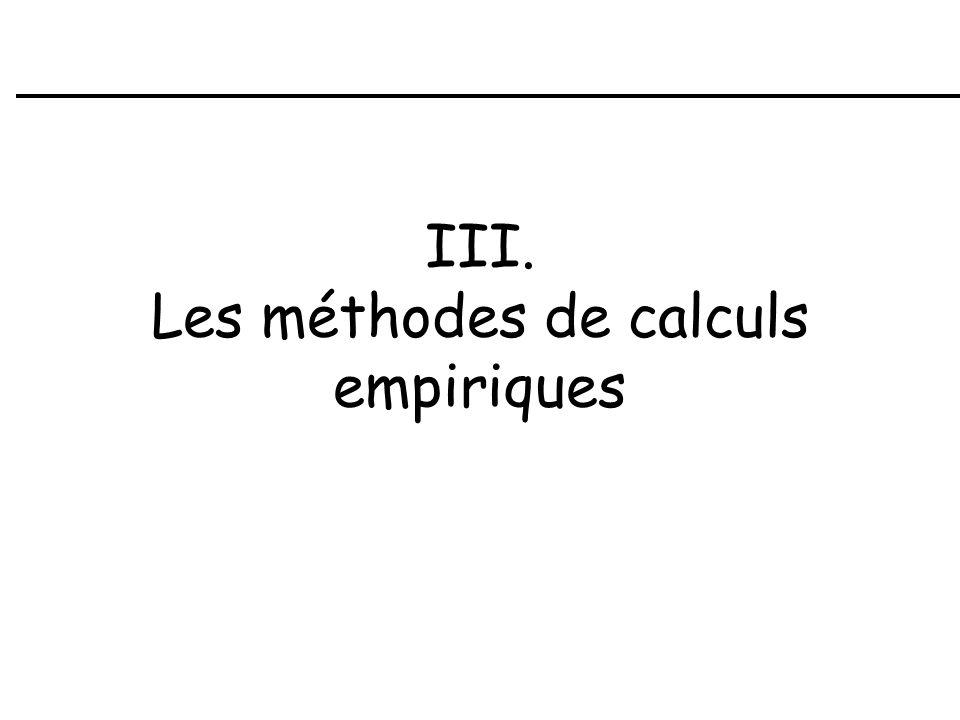III. Les méthodes de calculs empiriques