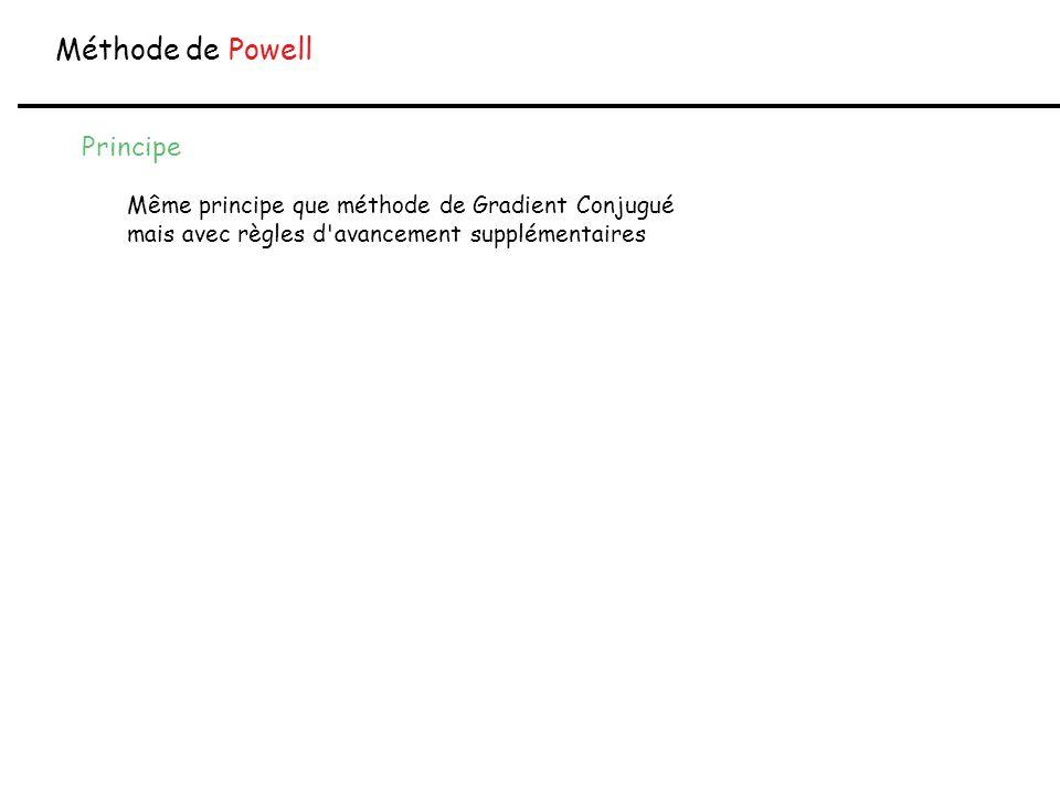 Méthode de Powell Principe