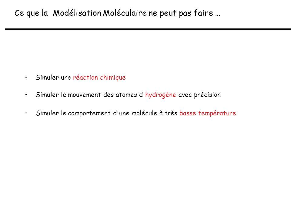 Ce que la Modélisation Moléculaire ne peut pas faire …