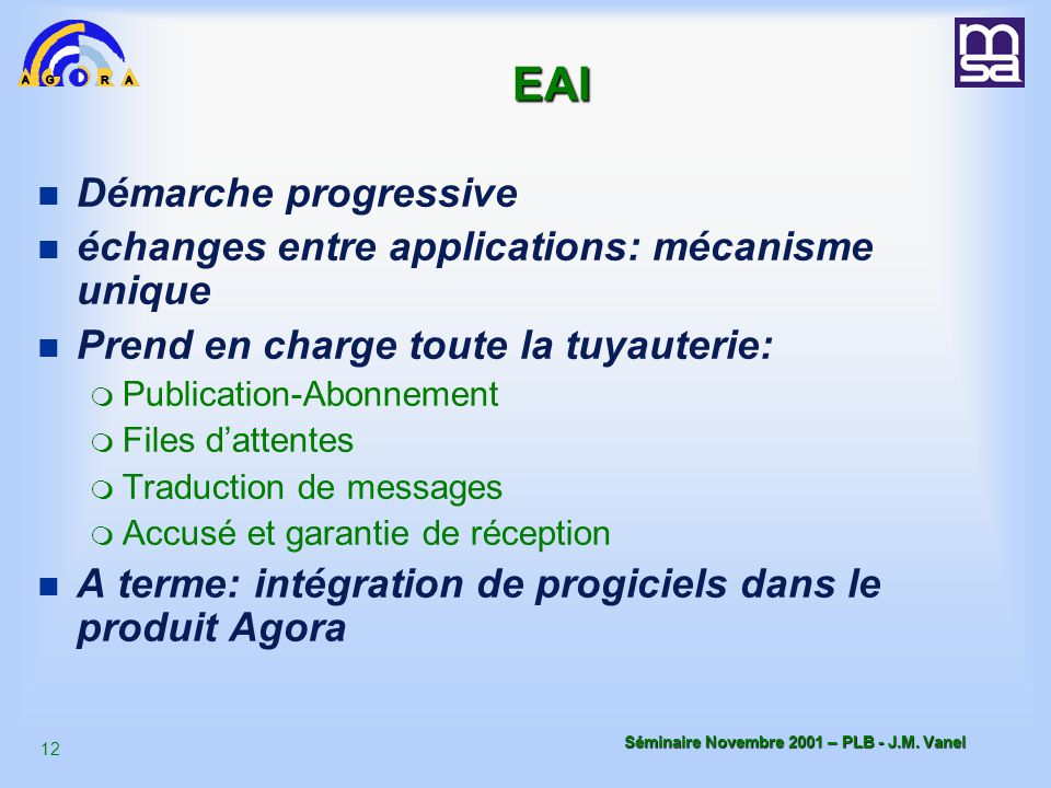 EAI Démarche progressive échanges entre applications: mécanisme unique