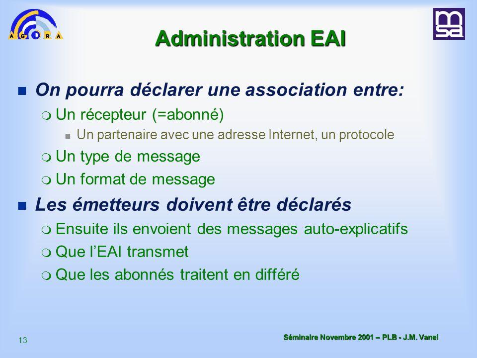 Administration EAI On pourra déclarer une association entre: