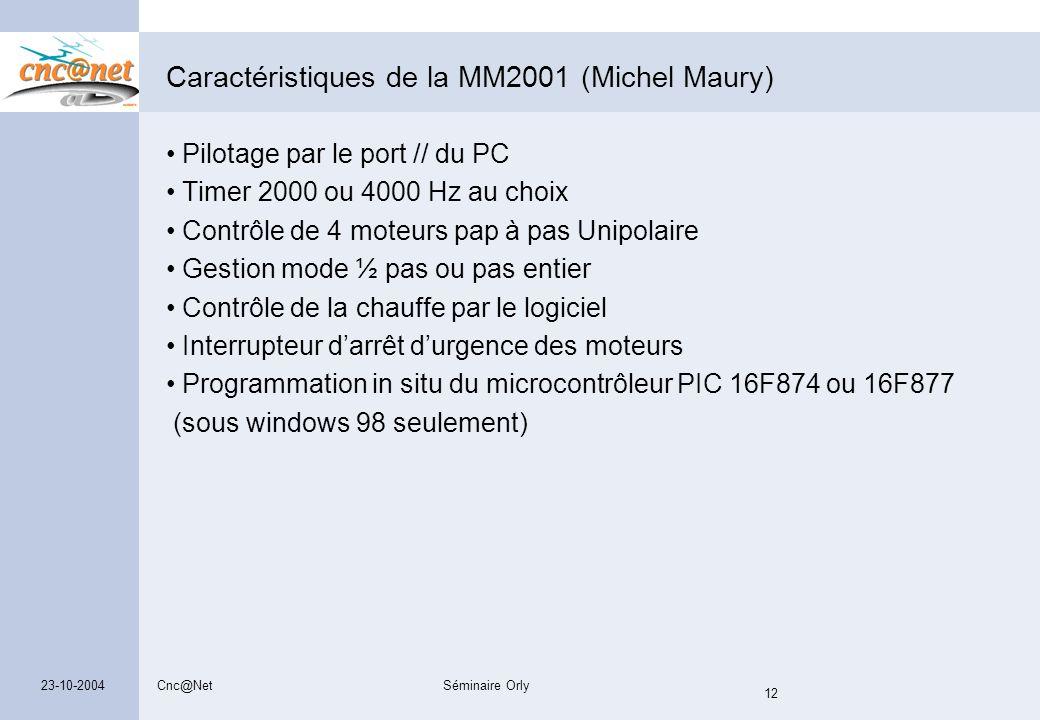 Caractéristiques de la MM2001 (Michel Maury)