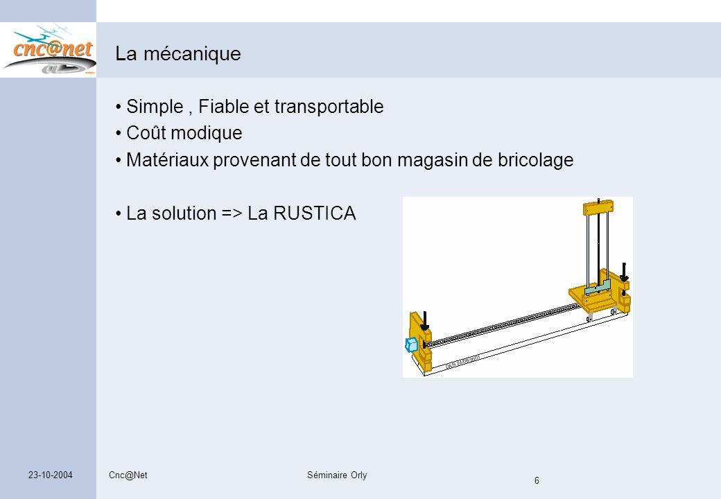 La mécanique Simple , Fiable et transportable Coût modique