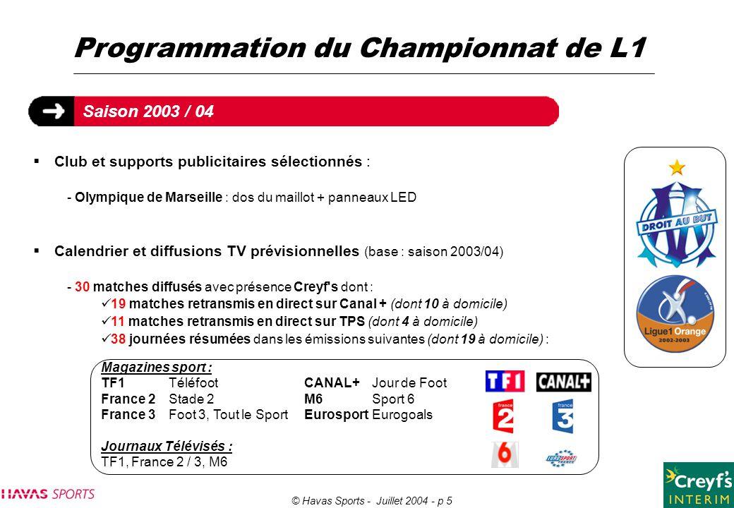 Programmation du Championnat de L1