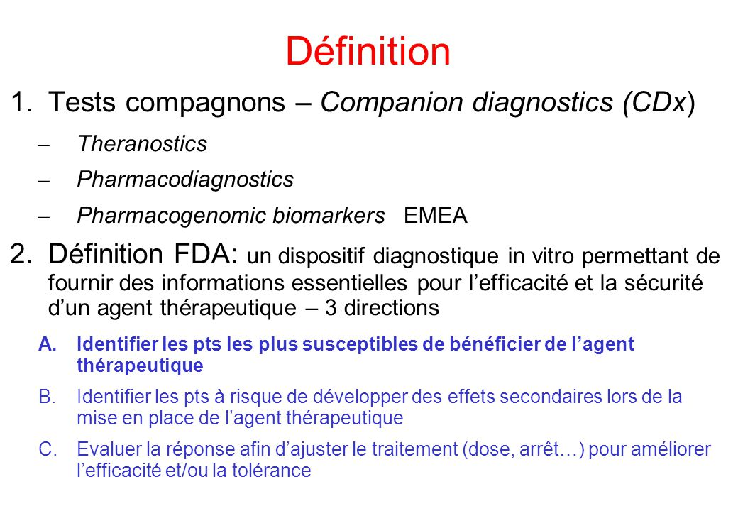 Définition Tests compagnons – Companion diagnostics (CDx)