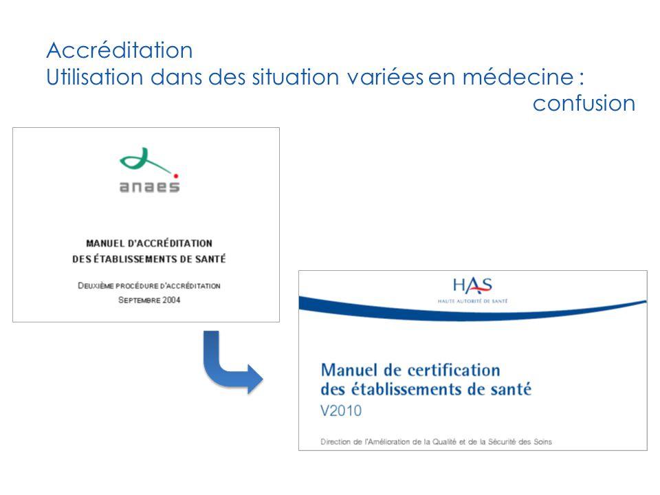 Accréditation Utilisation dans des situation variées en médecine :