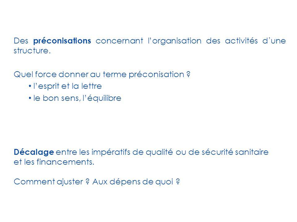 Des préconisations concernant l'organisation des activités d'une structure.