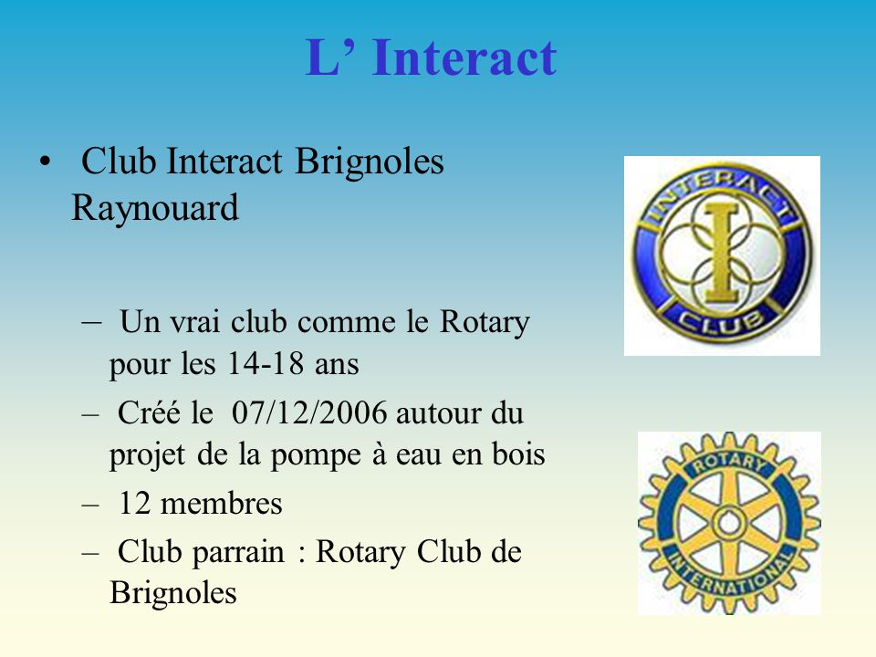 L' Interact Club Interact Brignoles Raynouard